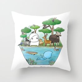 wildlife of cambodia Throw Pillow