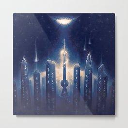 City in Space Metal Print