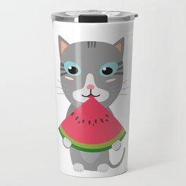 Cat with Melon Travel Mug
