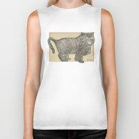 furry Biker Tanks featuring Furry Cat by Felis Simha