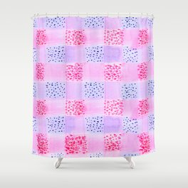 Plaid Pattern Watercolor In Pink And Blue Shower Curtain