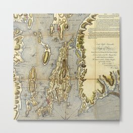 1777 Topographical Map of Rhode Island, Narragansett Bay of Province of New England Metal Print
