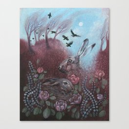 Hares and Crows Canvas Print