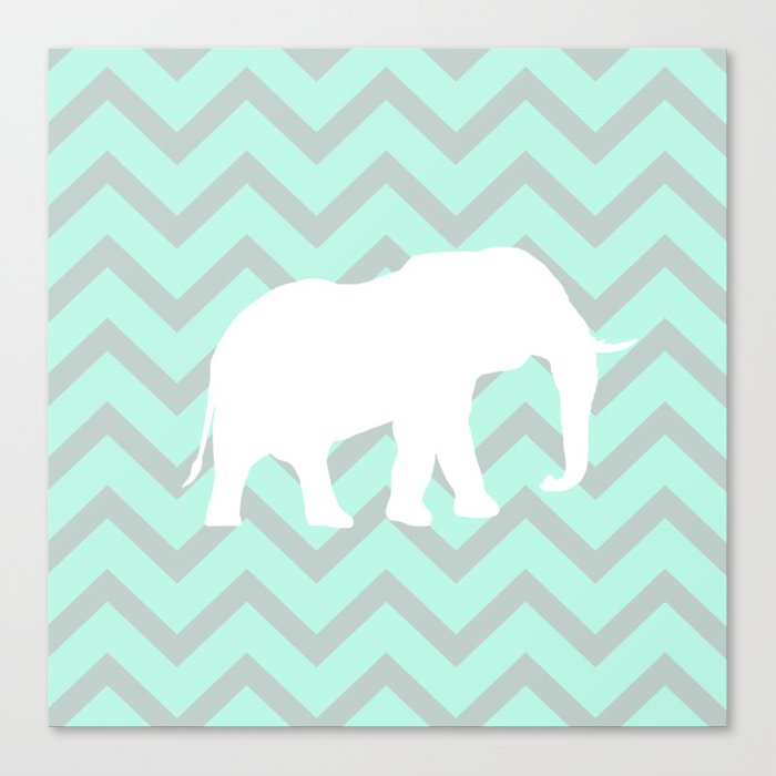 Pale Mint Chevron Elephant Pattern Canvas Print
