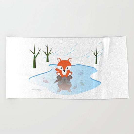 Little Fox On Ice Beach Towel