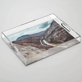 Beautiful photo of the canyon in Serbia, with river and the highway in the middle Acrylic Tray