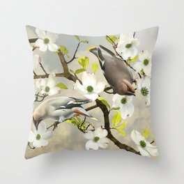 Bohemian Waxwing in Dogwood Tree Throw Pillow