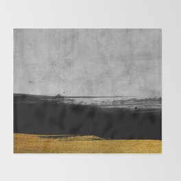 Black and Gold grunge stripes on modern grey concrete abstract backround I - Stripe - Striped Throw Blanket