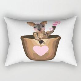 Baby Girl Kangaroo Joey in Pouch  Rectangular Pillow
