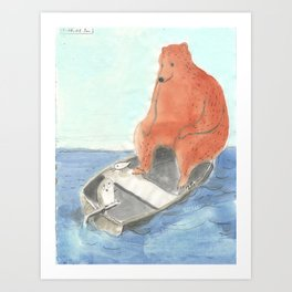 Owl and Tern are joined by A Bear Art Print
