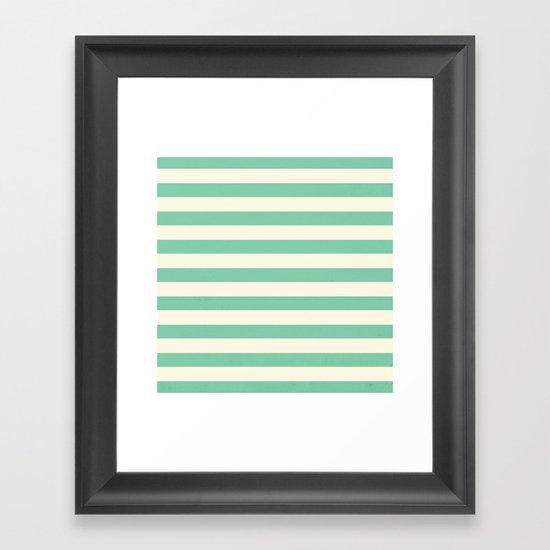 Mint Green Stripes  Framed Art Print