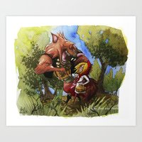 red hood Art Prints featuring Red Hood by Jose Luis Ocana
