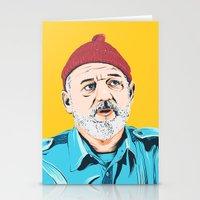 steve zissou Stationery Cards featuring Steve Zissou by Jeroen van de Ruit