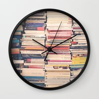 books Wall Clocks featuring Books  by Caroline Mint