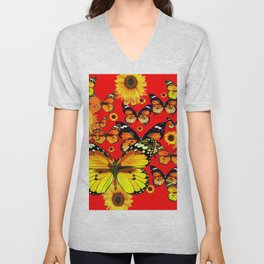 CHINESE RED YELLOW SUNFLOWERS &  BUTTERFLIES ART Unisex V-Neck