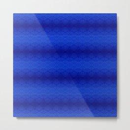 Blue Tiki Pattern Metal Print