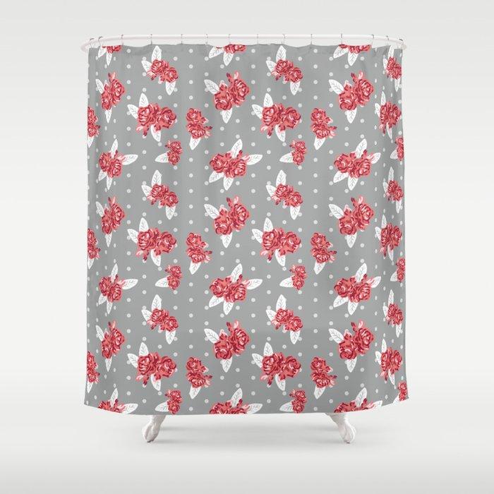 Floral Alabama Pattern University Of Crimson Tide College Sports Bama Varsity Alumni Shower Curtain