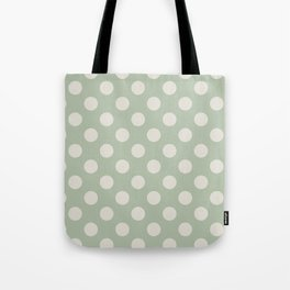 Large Polka Dots in Cream on Sage Green Tote Bag