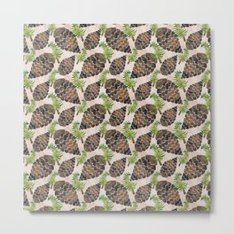 Watercolor Pine Cone Pattern Metal Print