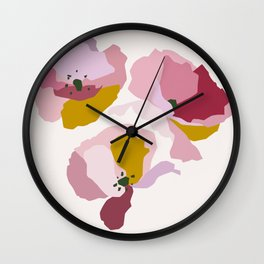 Pink Abstract Poppies by The Botanical Study Wall Clock