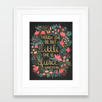 gold Framed Art Prints featuring Little & Fierce on Charcoal by Cat Coquillette