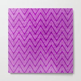 Vivid Purple Mauve Chevron Pattern Metal Print