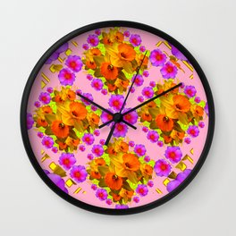 Pink Coral Cerise Roses & Daffodils Floral Wall Clock
