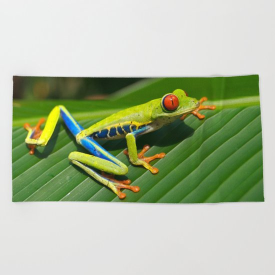 Green Tree Frog Red-Eyed Beach Towel