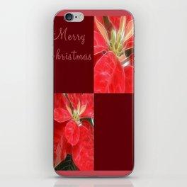 Mottled Red Poinsettia 1 Ephemeral Merry Christmas Q10F1 iPhone Skin