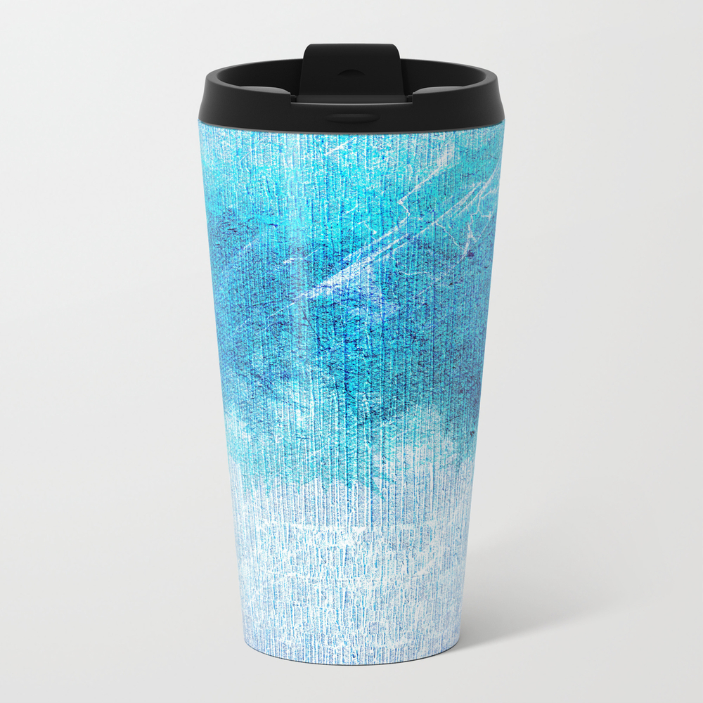 Abstract Textured Teal Blue Art Metal Travel Mug by Artaddiction45 MTM8371780