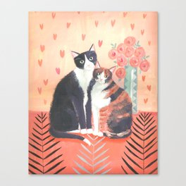 Cats with roses Canvas Print