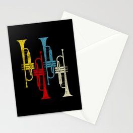 Retro Trumpet Musician Trumpeter Jazz Stationery Cards