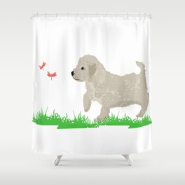 Cockapoo dog art cream Shower Curtain