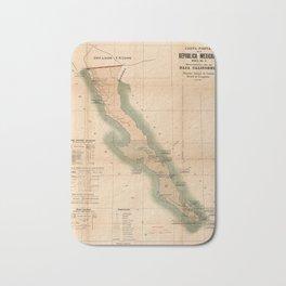 Vintage Baja California Postal Map (1904) Bath Mat