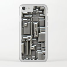 Brushed Metal 3D Pattern Clear iPhone Case