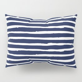 Navy Blue Stripes on White II Pillow Sham