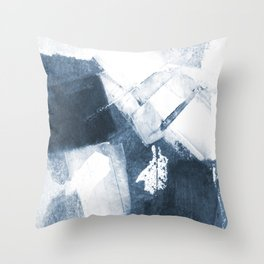 Blue and White Abstract Painting Throw Pillow