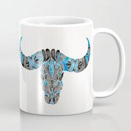 Water Buffalo Skull – Black & Blue Coffee Mug