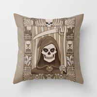 discworld Throw Pillows featuring COWER BRIEF MORTALS by Doodle Dojo