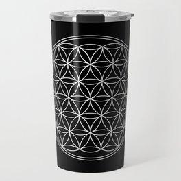 Flower of life on black Travel Mug