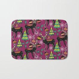 festive deer purple Bath Mat