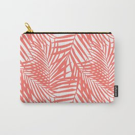 Palm Fronds in Living Coral Carry-All Pouch