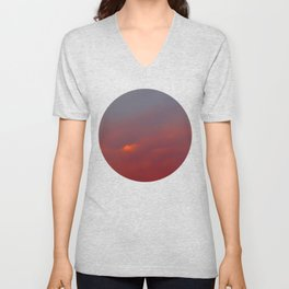 Red cloud shining at sunset Unisex V-Neck