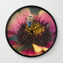 Bee on a flower Wall Clock