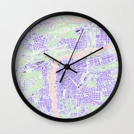 Prague map violet Wall Clock
