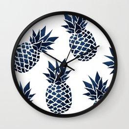 Pineapple Blue Denim Wall Clock