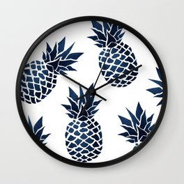 Pineapple Blue Denim Wall Clock