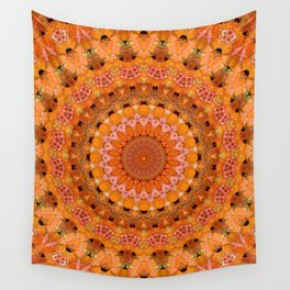 Orange kaleidoscope Wall Tapestry