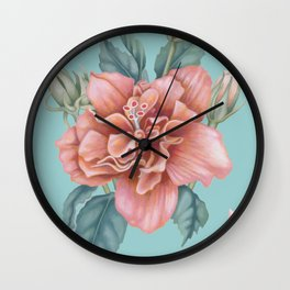 Hibiscus Crystals Wall Clock