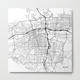 Reno Map, USA - Black and White Metal Print